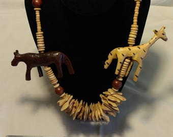 Vintage Hand Carved African Wood Necklace