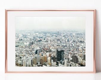 Tokyo City Aerial View, Japan, Download Digital Photography, Print, Downloadable Image, Printable Art