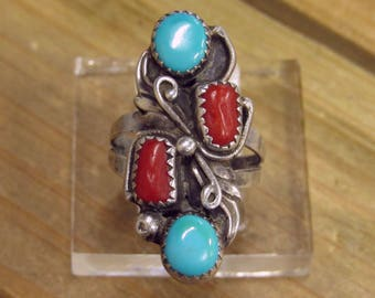 Vintage Sterling Silver Turquoise and Coral Ring Size 6.5