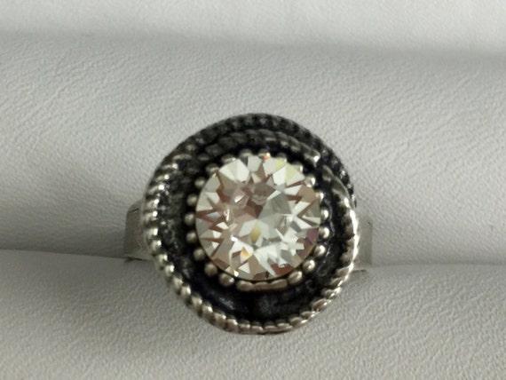 Swarovski Crystal Ring, Clear Crystal Ring, Crystal Rope Ring, April Birthstone Ring
