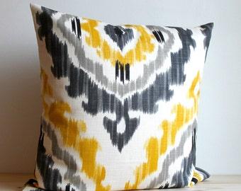 Yellow and Grey Ikat Pillow Cover, 14x14, Ikat Cushion - Ikat Tribal Sunshine