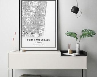 Fort Lauderdale map print   Scandinavian wall art poster   City maps Artwork   Florida gifts   Poster Print   M138
