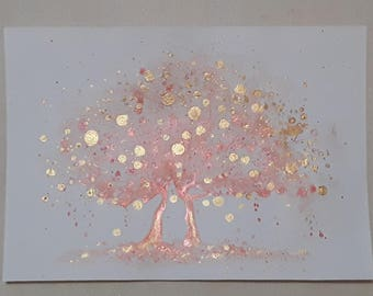 Tree Watercolor Painting leafs rings Two gold trees Abstract painting metallic gold