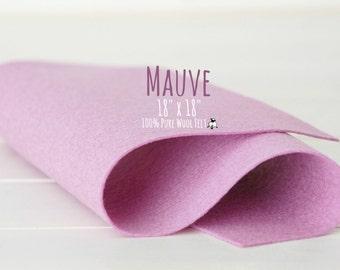 "100% Merino Wool Felt, 18"" Square Sheet - 18"" X 18"" - Color Mauve-3030 - Merino Wool Felt - Mauve Color  Wool Felt - 18"" Square Wool Felt"