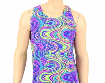 Mens UV Glow Worm Spandex Muscle Shirt Mens Rave or Festival Shirt - 154824