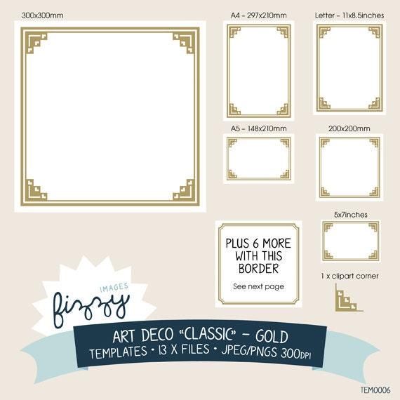 13 x art deco templates invite clipart gold digital files