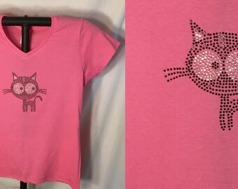 Little Black Rhinestone Kitten T-shirt