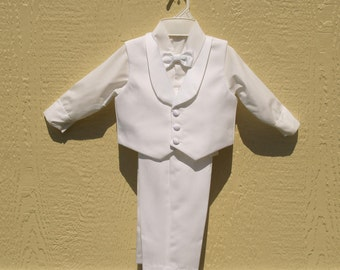 Boys 4 piece White Vest and Long Pants Suit, Bow Tie, Infant & Toddler Size Suits, Baptism Outfit,Christening Wear,Blessing Day, Ring Bearer