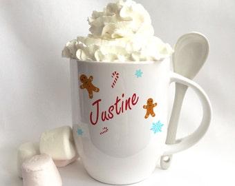 A personalised ceramic Festive Hot Chocolate Mug.