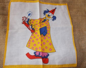 vintage clown hankerchief yellow and white
