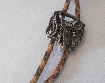 Vintage Western Leather Bolo Tie Leather Cord