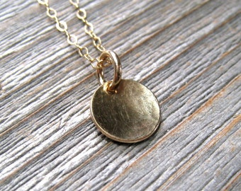 Gold Disc Necklace, Minimalist Jewelry, 14K Gold Circle Pendant, Layering Necklace
