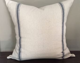 Double Blue Stripe Grain Sack Pillow, Throw Pillow Cover, Farmhouse Pillows, Decorative Pillows, Pillow Cover 18x18 or 20x20