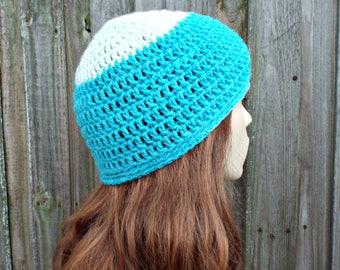 Snow Cap Blue Beanie Blue Hat - Crochet Womens Hat Blue Mens Hat - Blue Womens Hat Warm Winter Hat - READY TO SHIP