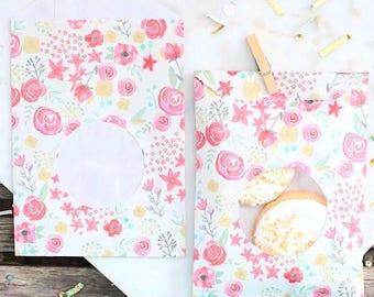 Pink Floral Favor Bags, Pink Floral Bags, Wedding Favor Bags, Goodie Bags, Sweet Bags, Treat Bags, Paper Bags, Watercolor Favor Bags