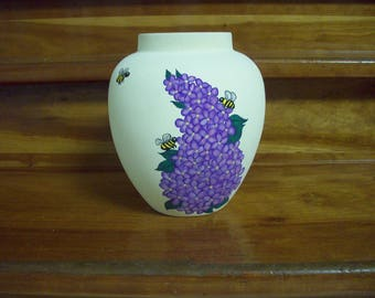 Hand painted lilac vase and bees