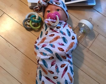 Cocoon sack, swaddle sack, head band, baby shower, baby gift