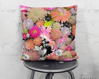 Boho Chic Throw Pillow Floral Art Pillow Hippy Pillow Flowers Pillow Unique Colorful Decor Throw Pillows Folk Art Pillows sunflower pillow