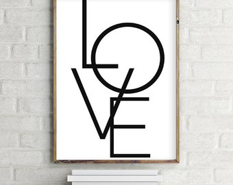 LOVE Printable / Downloadbale Wall Art Poster | Black and White, Minimal | (8x10 and various sizes) Gallery Wall Print