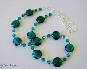 Beaded Necklace, Green Beaded Necklace, Green Silver-foiled beads Necklace, Green and White Swarovski Crystal Beaded Necklace