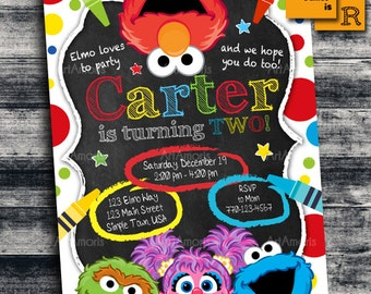 Elmo Invitation, Elmo Birthday Invitation, Art Party Invitation, Crayon, Sesame Street, Elmo Birthday Party, 1st birthday, Birthday Inv R-25