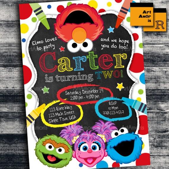 Elmo Invitation Elmo Birthday Invitation Art Party