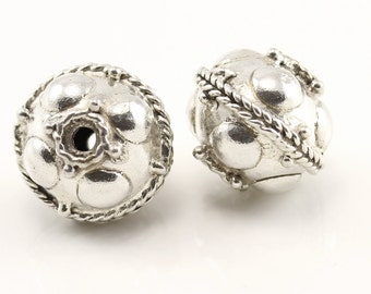 2  (two) 12 mm x 10 mm Bali Sterling Silver Beads, handmade in Bali, Indonesia.