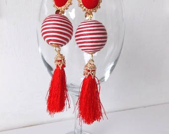 Red and White Bead and Tassel Earrings