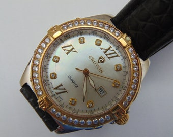 Mens Croton  Designer Watch, Swiss, Sapphire Crystal, Deployment strap. Two Tone, MOP Dial