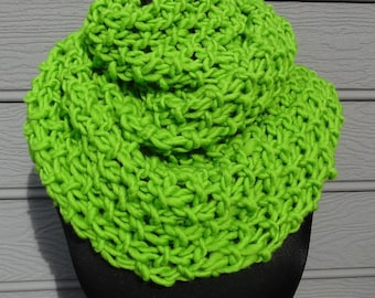 Lime Green Scarf - Huge Scarf - Chunky Knit - Cowl - Shoulder Wrap - Knit Wrap - Green Scarf - Wool - Infinity Scarf