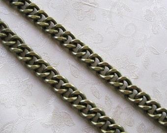 Antique Bronze lourd plat Twist coupe Gourmette chaine 14 mm x 10 mm Nickel plomb gratuit 385