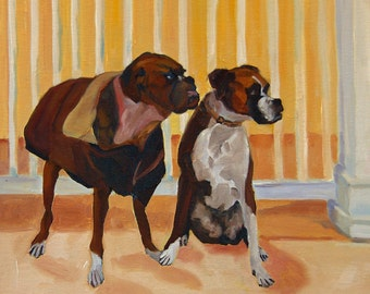 Where Did She Go Boxer Dogs Art Print