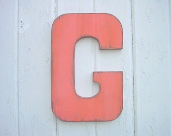 """Wooden Wall Letters G Big 12"""" Letter Orange Vintage Style Shabby Chic Kids Wall Art Block font"""