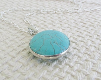 Turquoise Necklace, Long Chain Necklaces, Round Turquoise Pendant, Turquoise Jewelry, Large Turquoise Stone Pendant, Turquoise jewelry Lover