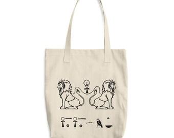 Egyptian Lion Anhk Hieroglyphs 100% Cotton Tote Bag