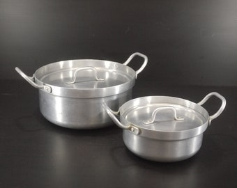 french Aluminum Lidded Stockpot Set of 2. Mid Century Modern Pots, Pans, Casserole. Farm Country Kitchen Restaurant Decor