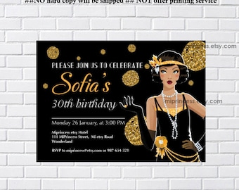 1920s, 1920s Flapper, vintage, birthday invitation, for any age, Glamour Party, vintage party, invitation Card Design, - card 1053