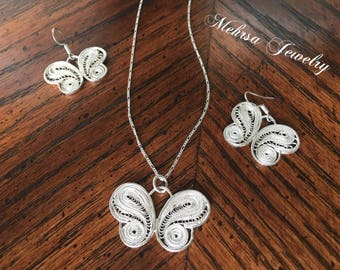 Silver Filigree Butterfly Sets, Dangle Butterfly Earrings, Butterfly Necklace, Fine Pendant