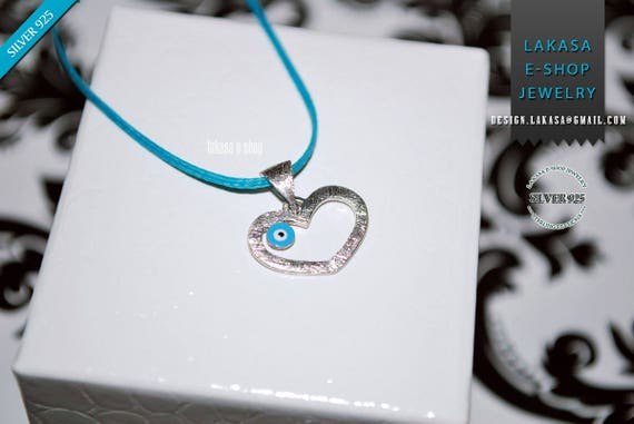 Heart Necklace Enamel Blue Eye Sterling Silver white Gold plated Religious Handmade Jewelry Baby Girl Boy Baptism Newborn My Prince Princess