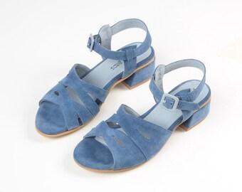 Leather Sandals, Women Shoes, Blue Sandals, Low Heels Sandals, Ankle Strap Sandals, Wide Sandals, Everyday Sandals