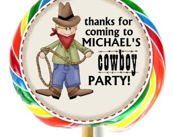 Cowboy Birthday Stickers, Lollipop Stickers, Cowboy Labels, Extra Large Personalized Stickers, Fit on WHIRLY LOLLIPOPS