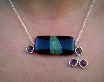 Reserved for Rosanna T-November Geo Necklace  in black, green and sterling silver OOAK