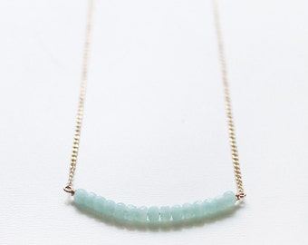 """simple blue beaded necklace - faceted beaded necklace, layering necklace, light blue, sky blue, ice blue - """"skylight"""" handmade necklace"""