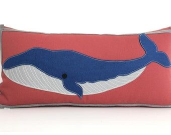 Humpback Whale Pillow in Nantucket Red, Grey and Blue