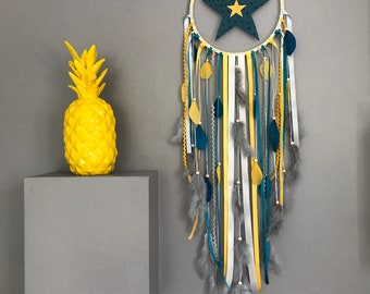 Dream catcher in mustard yellow, Teal and grey star