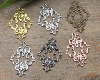 Wholesale 100 Brass Filigree Diamond Floral 23x36mm Raw Brass/ Antique Bronze/ Silver/ Gold/ Rose Gold/ White Gold/ Gun-Metal Plated