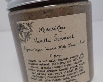 FREE SHIPPING/Organic/Vegan Vanilla Oatmeal Coconut Milk Facial Scrub/with Pink Sea Salt/Organic Coconut Milk/Colloidal Oatmeal-8oz.