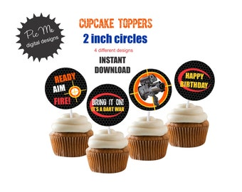 Nerf Gun Party,  Cupcake Toppers, Cupcake Toppers, Gun Cupcake Toppers, Cupcake Toppers, Custom Cupcake Toppers, Dart Theme Cupcake Toppers
