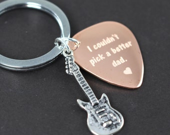 Custom Guitar Pick Keychain for Dad , Fathers Day Gift , Custom Engraved Gift for Dad, Unique Gift Idea