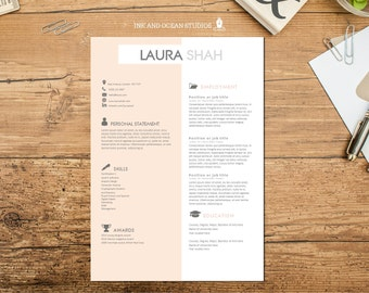 Resume / CV design with cover letter and reference page - WORD FORMAT - blush pink and grey